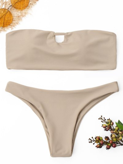 Cutout Bandeau Bikini Set - Yellowish Pink S