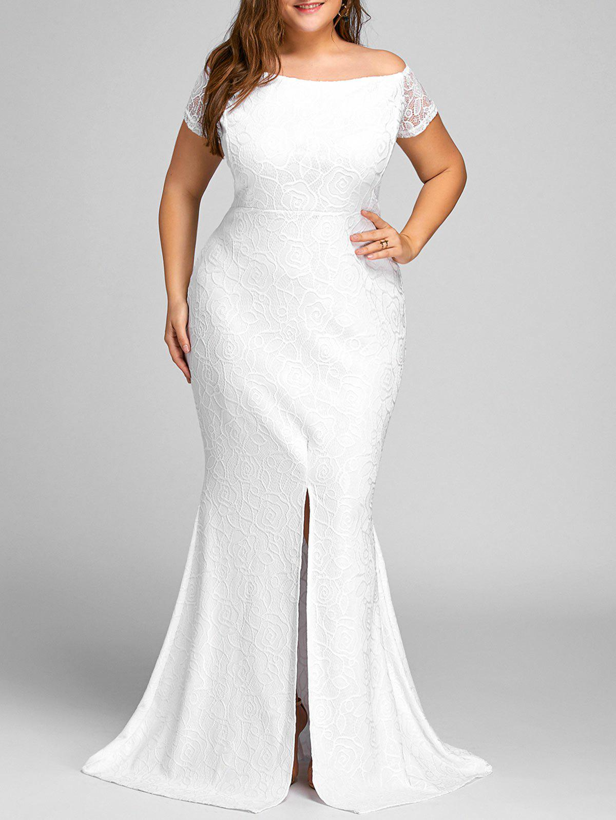 Off The Shoulder Lace Slit Plus Size Dress 228558102