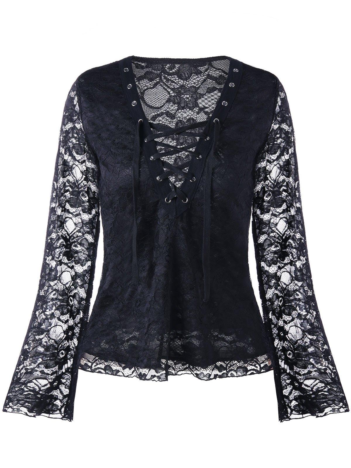 Spitzen V-Ausschnitt Lace Up Bluse