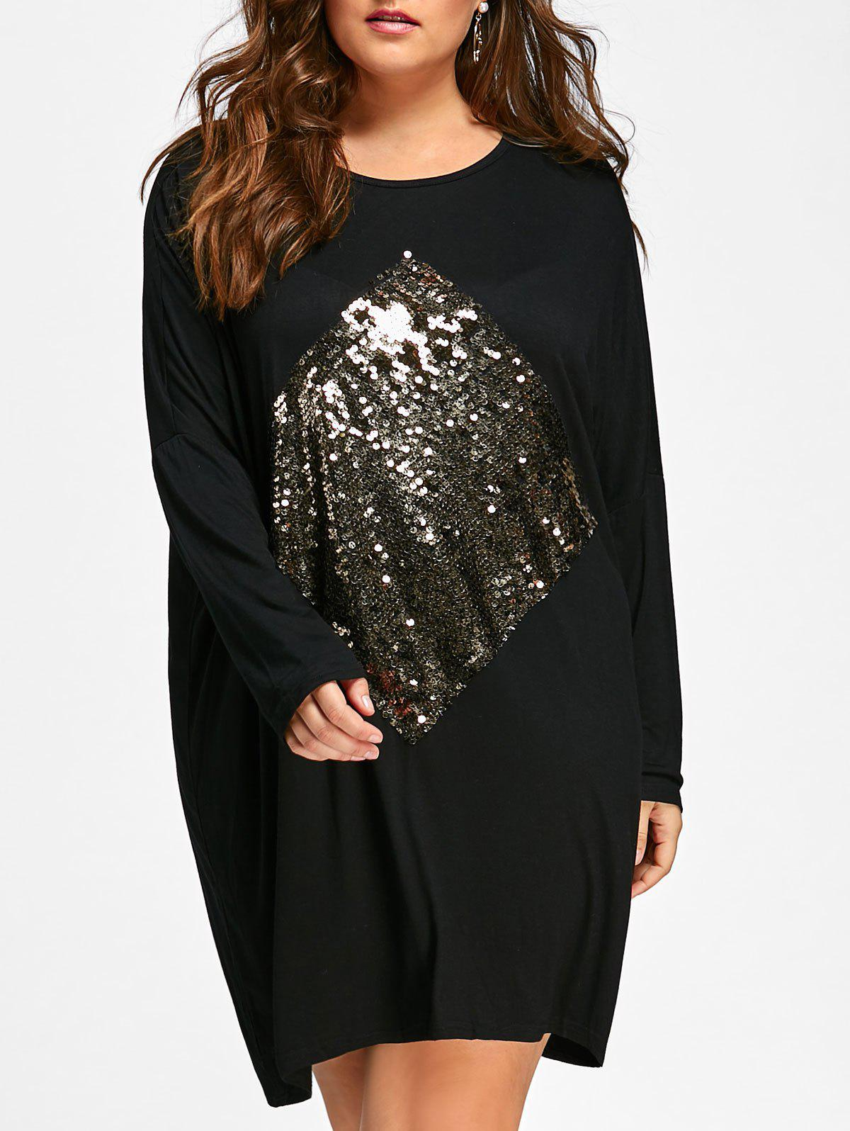 Plus Size Sequin Embellished Tunic Dress 228360701