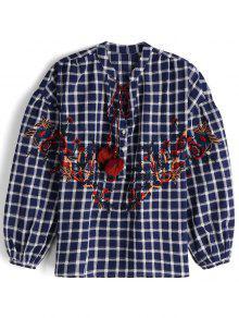 Chemise à Carreaux Brodé Floral - Carré S