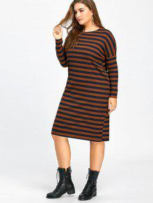 0b450d80359 34% OFF  2019 Plus Size Long Sleeve Stripe Knitted Dress In DARK ...