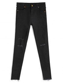 جينز رصاص مهترئ - أسود S