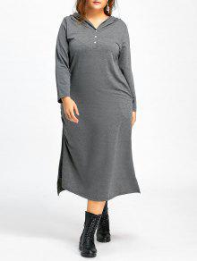 زائد الحجم ميدي هودي اللباس مع جيوب - رمادي Xl