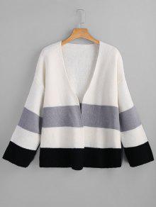 Blusa De Color Open Front Cardigan - Blanco