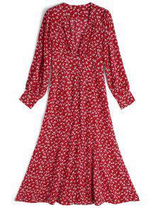 فستان ماكسي انقسام طويلة الأكمام طباعة الطيور - احمر و ابيض L