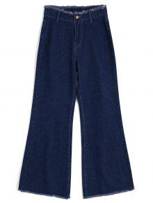 High Waisted Frayed Wide Leg Jeans