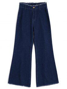 Pantalones Anchos Desgastados De Alta Cintura - Denim Blue Xs