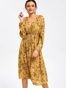 فستان ميدي طباعة الأزهار طويلة الأكمام بنصف الزر - الأصفر Xl
