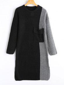 الجانب شق اللون كتلة البلوز اللباس - أسود ورمادي