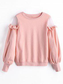 Sweat-shirt à Empiècement En Tulle à Volants - Rose PÂle S