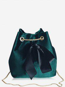 حقيبة كروسبودي على شكل دلو مع سلسلة مزينة بفيونكة - أخضر