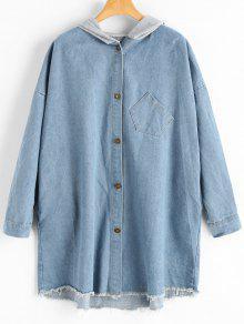 Manteau Denim à Capuche Bord Usé - Bleu Clair