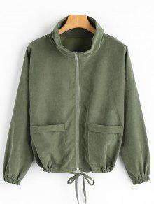 قطرة الكتف انغلق سترة مع جيوب - الجيش الأخضر