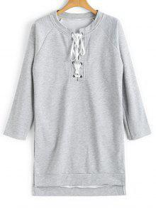 Lace M Up Sudadera Claro Low High Gris Longline q7TwOxfw