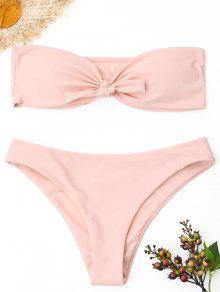 Ensemble De Bikini Bandeau à Nouer - Rose PÂle S