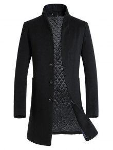 وحيد الصدر مبطن معطف الصوف المخلوط - أسود L