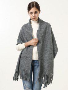 ريترو لينة مهدب بطانية طويلة شال وشاح - رمادي