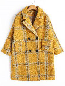 معطف منقوش - الأصفر S