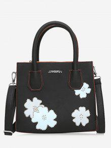 حقيبة يد مزينة بأزهار وقفل - أسود