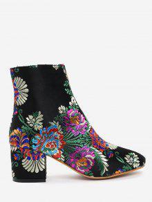 الكاحل التطريز زهرة الأحذية - أسود 37