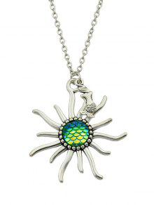 Mermaid Sunflower Fish Scales Necklace - Verde