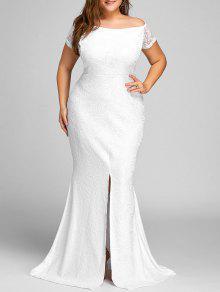 فستان الحجم الكبير دانتيل انقسام بلا اكتاف - أبيض 3xl