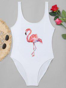 عالية قطع فلامنغو طباعة ملابس السباحة - أبيض S