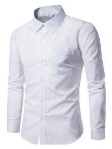 الصدر الجيب ضئيلة عارضة قميص طويل الأكمام - أبيض M