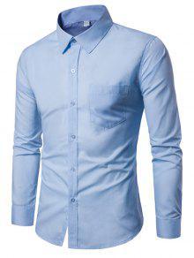 الصدر الجيب ضئيلة عارضة قميص طويل الأكمام - أزرق L
