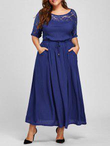 فستان الحجم الكبير ماكسي دانتيل التريم مشد - أزرق 4xl