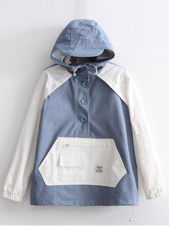 Chaqueta con capucha de dos tonos abotonada - Azul y Blanco Única Talla