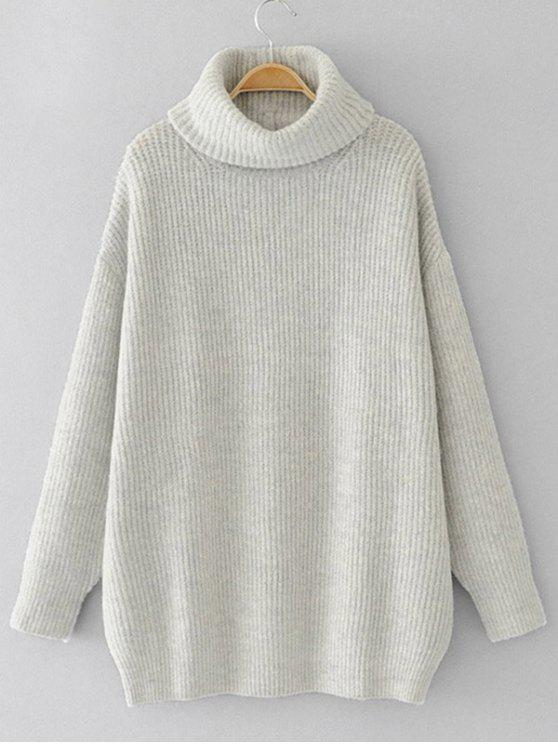 Drop Shoulder Oversized Turtleneck Sweater LIGHT GRAY: Sweaters ...