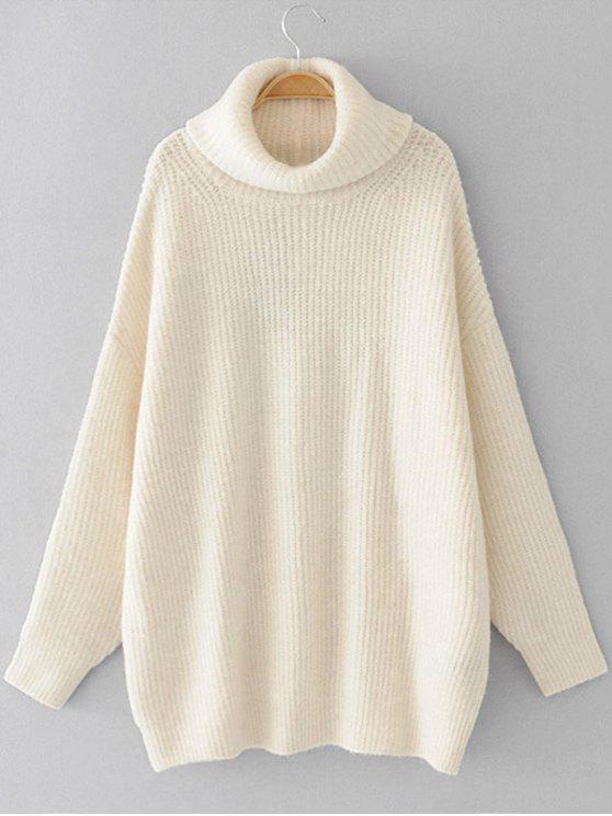 Übergröße Pullover mit Rollkragen und Drop Schulter - Weiß Eine Größe