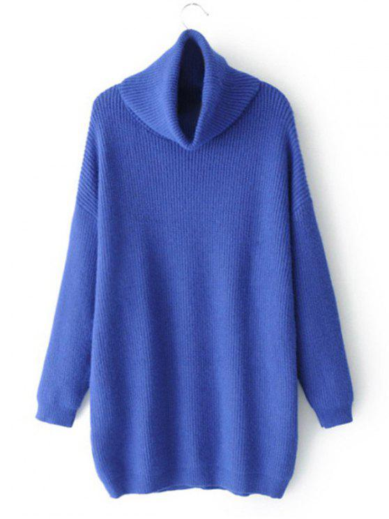 ladies Drop Shoulder Oversized Turtleneck Sweater - BLUE ONE SIZE