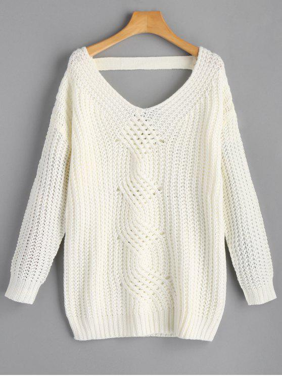 c97df1822 34% OFF  2019 V Neck Drop Shoulder Chunky Sweater In OFF-WHITE