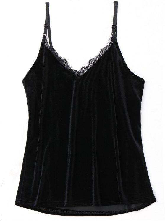 hot Lace Trim Velvet Babydoll Top - BLACK ONE SIZE