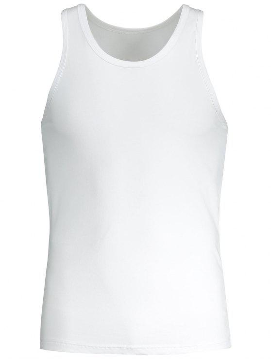 Cuello redondo Sporty Tank Top - Blanco 2XL