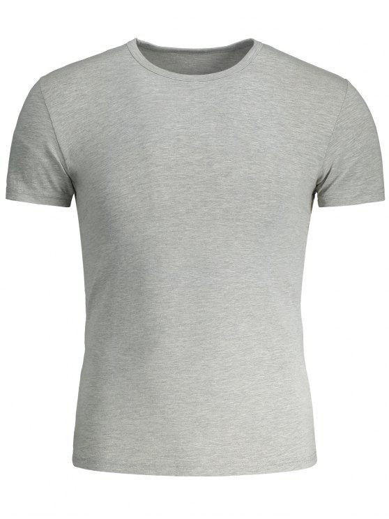 fashion Short Sleeve Slim Fit Tee - GRAY 3XL