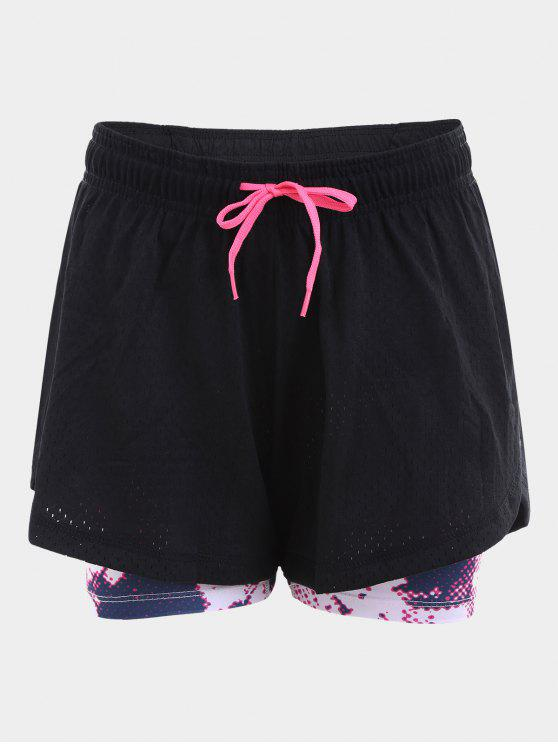 hot Overlay Drawstring Printed Sports Shorts - BLACK M