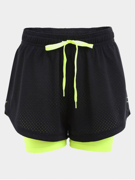 Overlay Drawstring Two Tone Sports Shorts - Preto L