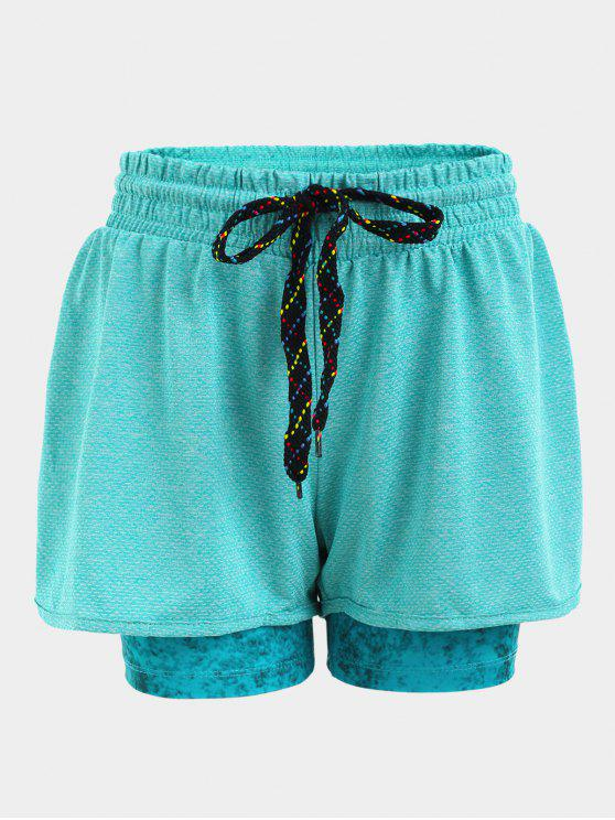 latest Double Layered Plaited Drawstring Sporty Shorts - BLUE L