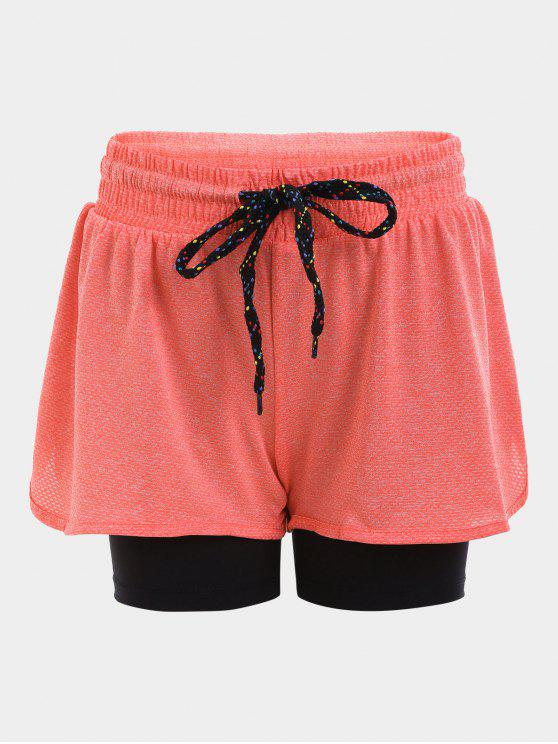Short de Sport Doublé avec Cordon en Carreaux - Orange L