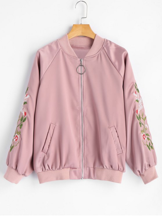 outfits Zip Up Floral Embroidered Pilot Jacket - PINK S