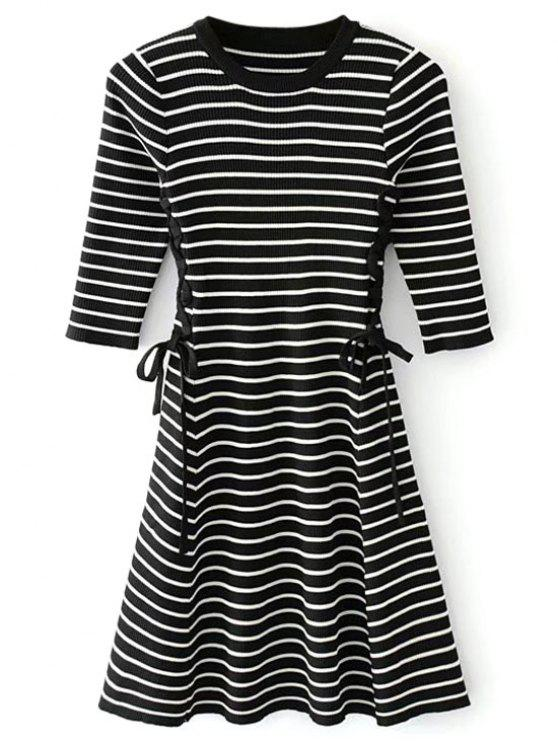 affordable Lace-up Ribbed Sweater Dress - BLACK ONE SIZE