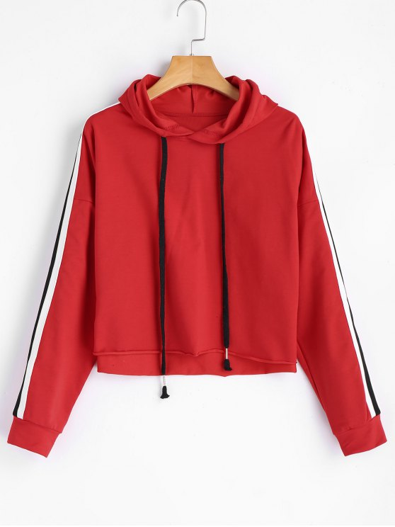 buy Ribbons Trim Cropped Oversized Hoodie - RED M