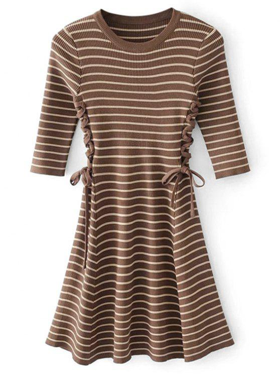 ladies Lace-up Ribbed Sweater Dress - COFFEE ONE SIZE