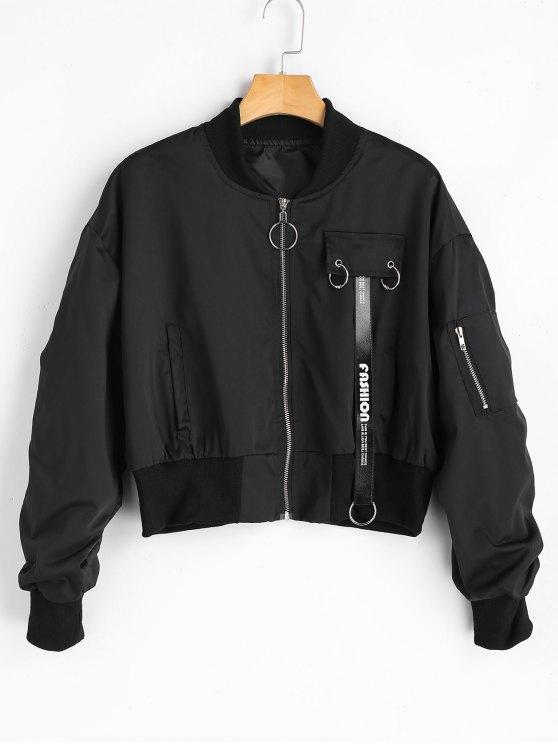 best Zip Up Oversized Bomber Jacket - BLACK S