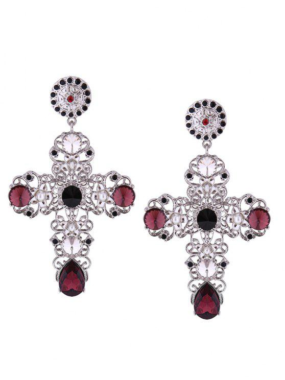 Rhinestone Cross Stud Drop Earrings - Prata