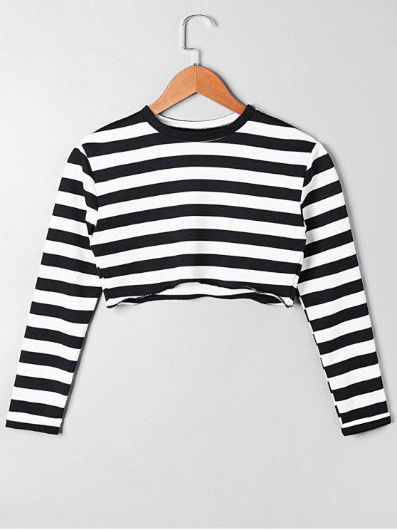 hot Long Sleeve Asymmetric Striped Crop Top - WHITE AND BLACK M